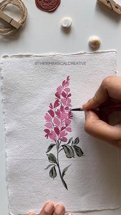 Realistic Flower Drawing, Simple Flower Drawing, Easy Flower Drawings, Easy Flower Painting, Acrylic Painting Flowers, Beautiful Flower Drawings, Flower Art, Simple Watercolor Flowers, Watercolor Flowers Tutorial