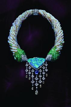 Cartier Necklace, 35.52 carat Opal, Sapphires, Diamonds, Emerald Beads, Opal Beads, Pearls.