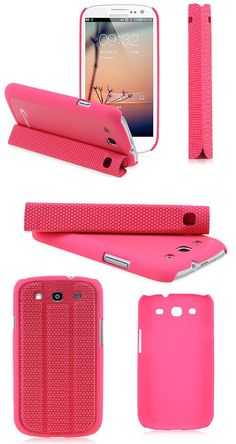 Guoer Multifunction Magnetic Smart Cover Case for Samsung Galaxy SIII S3 Pink