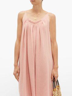 Gather Shortie cotton-gauze dress | Loup Charmant | MATCHESFASHION UK Beach Wear Dresses, Summer Dresses, Gauze Dress, Hemline, Beachwear, Boho Fashion, Fitness Models, Women Wear, Cotton