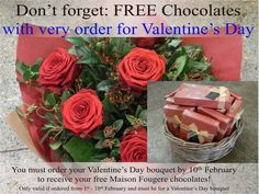 On the fourth day of Pot Pourri love, is a gentle reminder about our amazing Valentines Day offer, if you order your Valentines Day bouquet between the and of February 2014 you will receive a free box of Mason Fougere chocolates Flowers For Valentines Day, Send Roses, Free Boxes, Local Florist, Some Ideas, Rose Bouquet, Flower Delivery, Chocolates, February