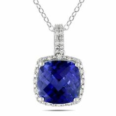 Sterling Silver 5 3/4ct TGW Blue Sapphire and 1/10ct TDW Diamond Pendant (H-I, I3) (18in) Amour. $80.00. Save 50%!