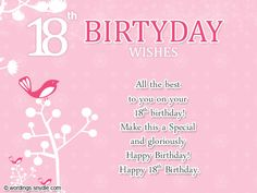 18th Birthday Wishes Greeting And Messages Card Cards