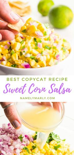 If you're into salsa recipes, this easy Chipotle copycat, fresh corn salsa will soon be your favorite! It's easy to make and you only need 6 simple ingredients and 12 minutes to prepare it. The perfect addition to your burritos, salads, and tacos.    #cornsalsa #vegansalsa #cornsalsarecipe #vegan #namelymarly Chipotle Corn Salsa, Sweet Corn Salsa, Vegan Breakfast Recipes, Delicious Vegan Recipes, Healthy Recipes, Finding Vegan, Salsa Recipe, Kitchen Recipes, Copycat Recipes