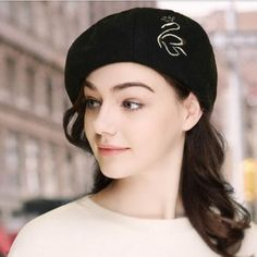 Embroidered swan beret hat for women wool winter hats French Hat, Beautiful Suit, Wool Berets, Winter Hats For Women, Beanies, Swan, Brown And Grey, Gray Color, Outdoors