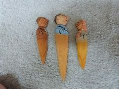 """3 VINTAGE ANRI Carved Wood Bookmarks (2) 3.5"""" & Letter Opener 4.75"""" 