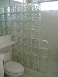 Glass Tile Shower. Hummm block wall or just glass. Glass would be easer to clean.