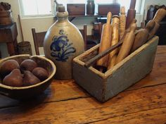 Nice antique prim grouping with wood rolling pins, bowl and cobalt blue crock!