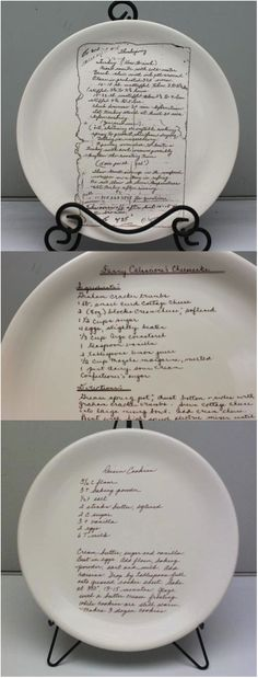 This Custom Recipe Plate is a wonderful way to preserve a piece of family history. Treasure a favorite family recipe made by someone you love. Even if handwritten, we can transfer your handwritten recipes or special handwritten notes onto a plate or platter that can be treasured for years to come.   Made on Hatch.co by makers who care.