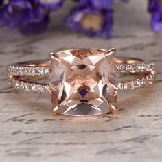 Morganite engagement ring with diamondSolid 14k Rose by Yridesign
