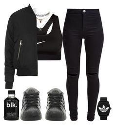 """""""Blk."""" by crazymarchbaby ❤ liked on Polyvore featuring New Look, NIKE, Topshop, adidas and adidas Originals"""