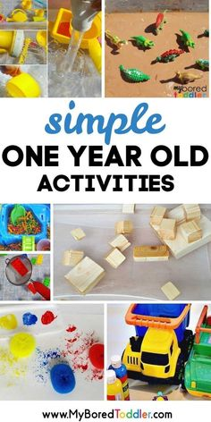 25 one year old activities. If you're looking fore easy sensory, craft or outdoor activities for your one year old this post will help. With so many great one year old activity ideas you'll be busy for ages! Toddler Play, Toddler Learning, Baby Play, Toddler Preschool, Toddler Crafts, Kids Crafts, Sensory Play For Toddlers, Infant Play, Fun Activities For Toddlers