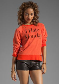 WILDFOX COUTURE I Hate Mondays Destroyed Sweater in Valley Heat