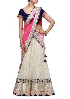 A stunning lehenga in white and blue with stone and gotta patti work-Hand Made