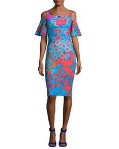 TVJAT La Petite Robe di Chiara Boni Lupe Cold-Shoulder Floral Jersey Cocktail Dress, Royal Garden Turquoise