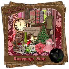 Rummage Sale - Jumble Sale themed digital scrap kit composed of 12 papers and 45 .png elements.  300 DPI.  Personal Use Only.  Available in Full and Tagger size.