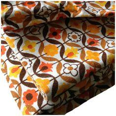 Vintage 1970s Geometric Orange   Curtains by Retro68