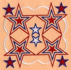 Stars and Stripes Quilt Pattern - 5x7 | 4th of July | Machine Embroidery Designs | SWAKembroidery.com Starbird Stock Designs
