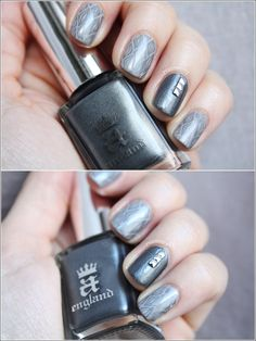 These nails are designed in grey hues. Four of the nails have a grey tone on tone pattern and just one nail is painted in a bit of darker grey hue and is added three silver studs in line.
