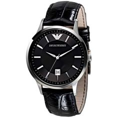 d45afcb255a5 Emporio Armani Classic Collection Men s Quartz Watch with Black Dial  Analogue Display and Black Leather Strap