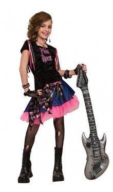 35€ Sweet Pink Rockstar Kostüm für Mädchen