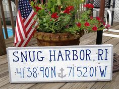 Snug Harbor, Rhode Island custom, hand painted driftwood sign. Reclaimed wood sign, nautical home decor, navy & white, anchor, lat/long sign, town pride sign. Place your order at www.TotallyADrift.com