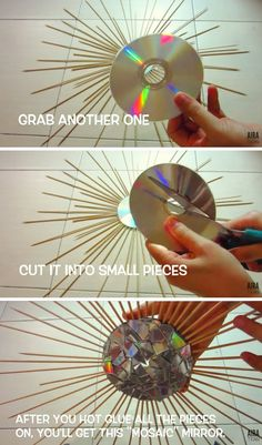 io - DIY Starburst Mirror Best Picture For diy For Your Taste You are looking for something, and it is - Diy Room Decor Videos, Diy Crafts For Home Decor, Cd Crafts, Diy Crafts Hacks, Diy Crafts To Sell, Cd Diy, Cute Wall Decor, Diy Wall Art, Starburst Mirror
