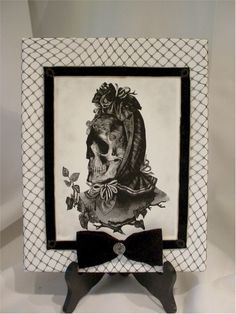 """""""TO DIE FOR HAT 1""""  ...mixed media art canvas piece...antique Victorian inspired graphics created by Jeff Bouchard... finished with antique & vintage trims"""