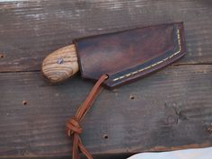 Handmade Knife with Leather Sheath : Zebra wood handle  /w Mosaic Copper and Aluminum Pins