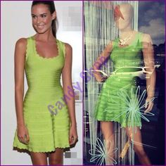 Celebrity dress color verde tierno con falda corte A con padrísimos volados