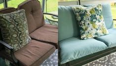 How to re-cover patio furniture cushions Patio Furniture Cushions, Patio Furniture Covers, Couch Cushions, Modern Bedroom Furniture, Diy Outdoor Furniture, Diy Couch, Porch Furniture, Furniture Design, Sofa