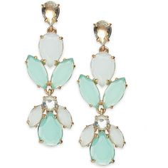 Kate Spade New York Gold-Tone Mint Stone Statement Earrings (£27) ❤ liked on Polyvore featuring jewelry, earrings, accessories, earring jewelry, statement earrings, mint green jewelry, colored gold jewelry and kate spade earrings