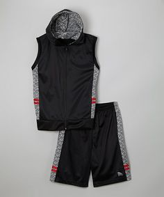 Black & Red Hooded Vest & Shorts - Boys on #zulily