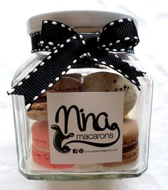 mini macarons in a jar