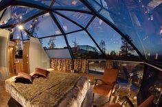Room with a star filled view.