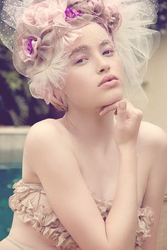 Soft Pastel Pink ☮k☮ Marie Antoinette, Headdress, Headpiece, Fascinator, Beauty And Fashion, Model Photographers, Look At You, Pastel Pink, Soft Pastels