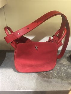 Red hot, suede bag from Michino Paris