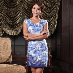 Fabulous Blue Patterns V Neck Cheongsam, Chinese Dresses Costumes,Qipao