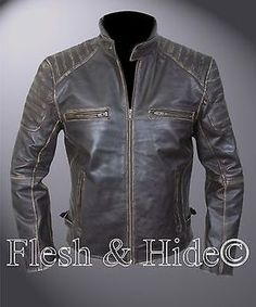 Genuine Cowhide Leather Buffed Brown Ribbed Cafe Racer Biker Motorcycle Jacket in Clothing, Shoes & Accessories,Men's Clothing,Coats & Jackets   eBay