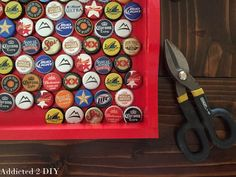 DIY Bottlecap Serving Tray - Addicted 2 DIY Bottle Cap Crafts, Bude, Make Your Own, Tray, Gifts, Furniture, Hair, Presents, Trays