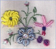 \Cast On Daisy Rolled Rose Creeping Flower Fuchsia Dazzler & Greenery\  Brazilian Dimensional Embroidery Pattern Sampler Block 10 @jdr-be