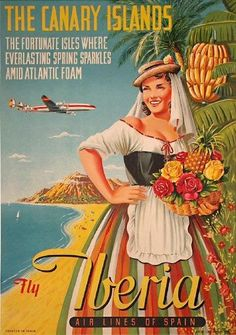 The Canary Islands Fly Iberia Travel Poster