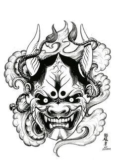 100 Japanese Tattoo Designs I By Jack Mosher Aka Horimouja Samurai Mask Tattoo, Oni Mask Tattoo, Hanya Tattoo, Tatoo Art, Body Art Tattoos, Tattoo Drawings, Japanese Demon Tattoo, Japanese Tattoo Designs, Japan Tattoo