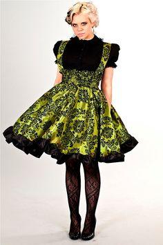 Gothic Lolita  Dress Lime Green Taffeta Velvet by KMKDesignsllc, $115.00