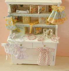 Dollhouse Miniature Vintage Blossom Baby, Newborn Baby Fabric Outfit Clothing…