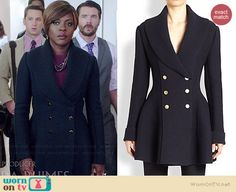 Annalise's navy double breasted jacket with shawl knit collar on How to Get Away with Murder.  Outfit Details: http://wornontv.net/38484/ #HTGAWM