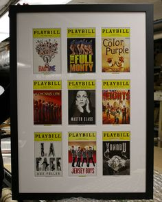 A lovely way to put your Playbill collection on display! VIA ChicagoCustomFraming.com