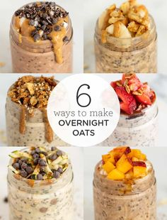 How to make overnight oats in 6 amazing flavors! These quick and easy recipes are great for a healthy breakfast, but also can be enjoyed as a balanced snack. Easy to make in a jar, and our flavors are vegan and gluten-free. Peanut butter, banana, strawberry, zucchini, peach, you'll love these ideas!