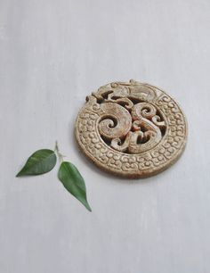 BIG Carved Stone Dragon Disk - large 75mm round serpent pendant - jewelry making supplies by CuriosityCabinet on Etsy