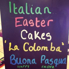 We have a few Italian La Colomba cakes (traditional cakes had at Easter) available. Share something a bit different this year, but get them quick as limited availability. Traditional Cakes, Chalkboard Quotes, Art Quotes, Easter, Neon Signs, Happy, Happy Happy Happy